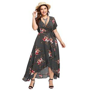 Plus Size Belted Empire Waist Bohemian Party Dress